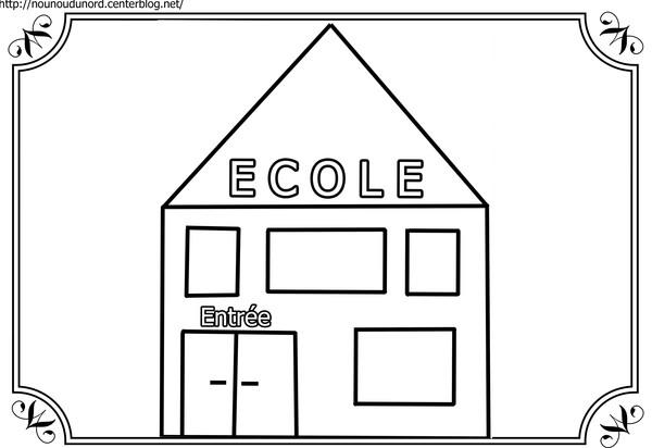 coloriage d'une école maternelle