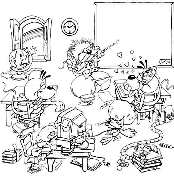 coloriage petite fille école