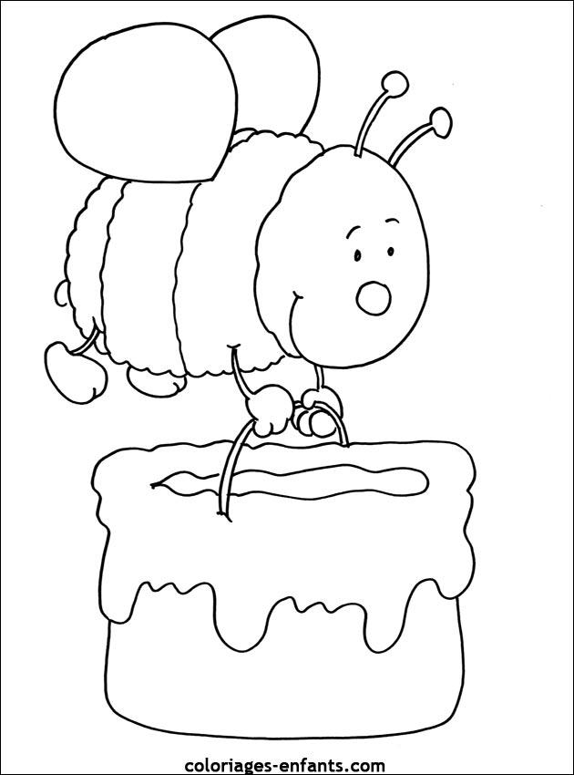 Coloriage dessiner d 39 abeille et ruche - Abeille coloriage ...