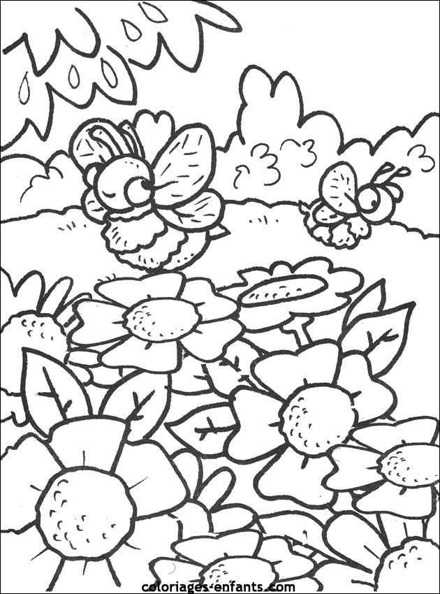 dessin à colorier d'abeille a imprimer