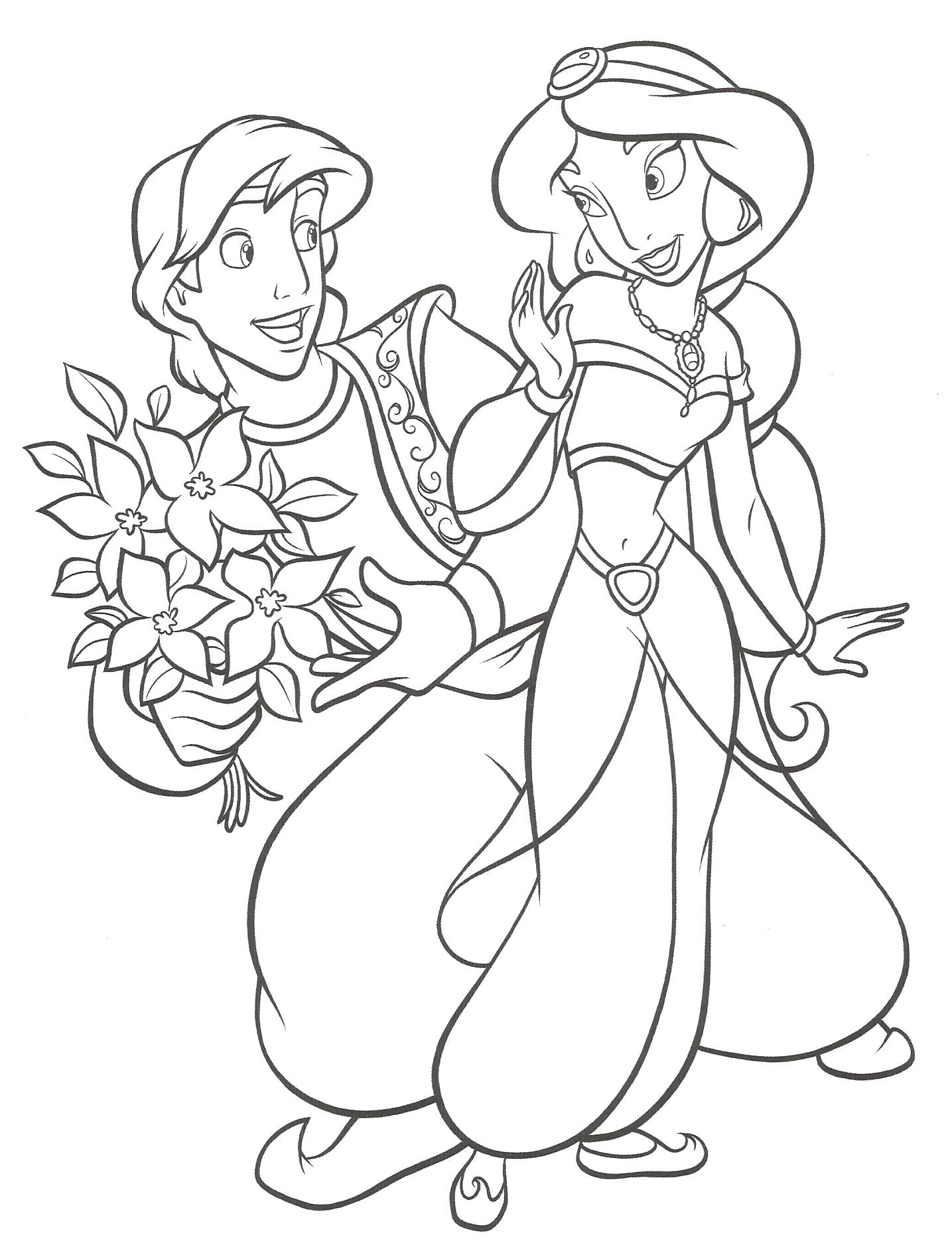 coloriage aladdin et jasmine en ligne
