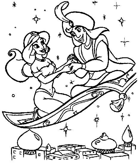 coloriage aladdin et jasmine