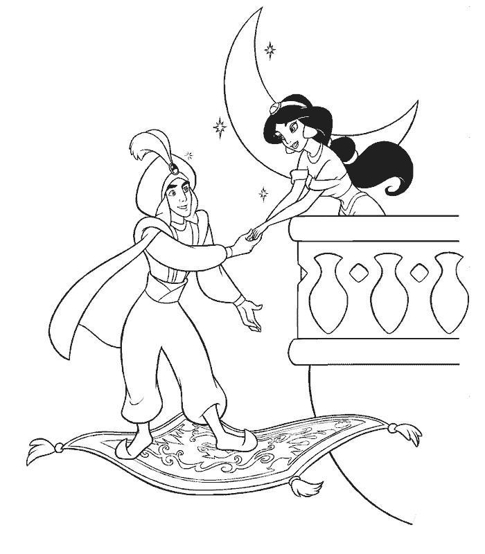 Dessin colorier aladdin et jasmine - Dessiner aladin ...