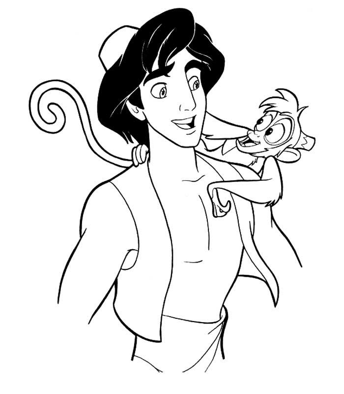 coloriage à dessiner aladdin et jasmine en ligne