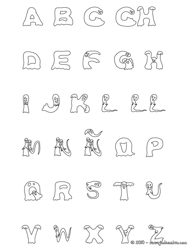 Coloriage dessiner alphabet rigolo - Alphabet rigolo a colorier ...