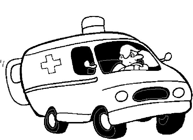 coloriage à dessiner ambulance