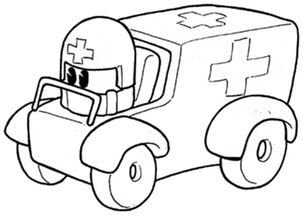 coloriage à dessiner ambulance samu
