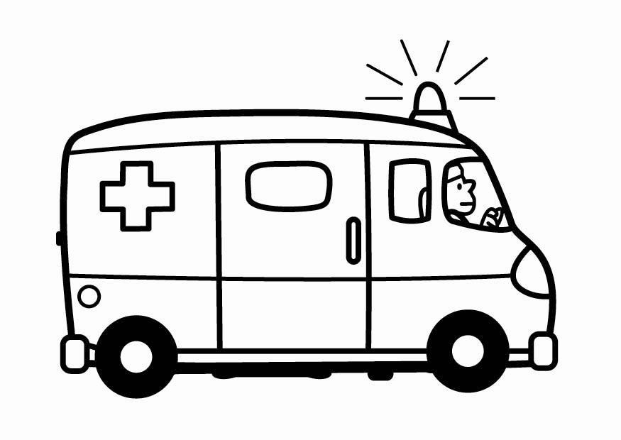 dessin à colorier gratuit ambulance