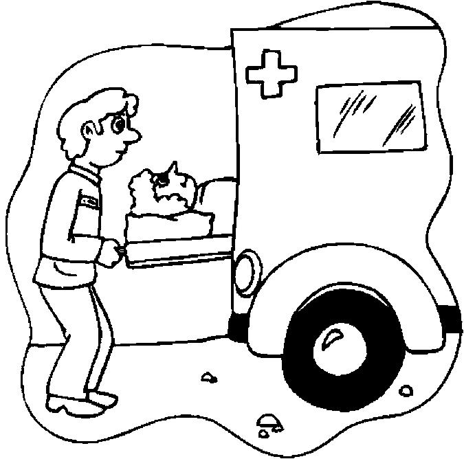 coloriage à dessiner playmobil ambulance