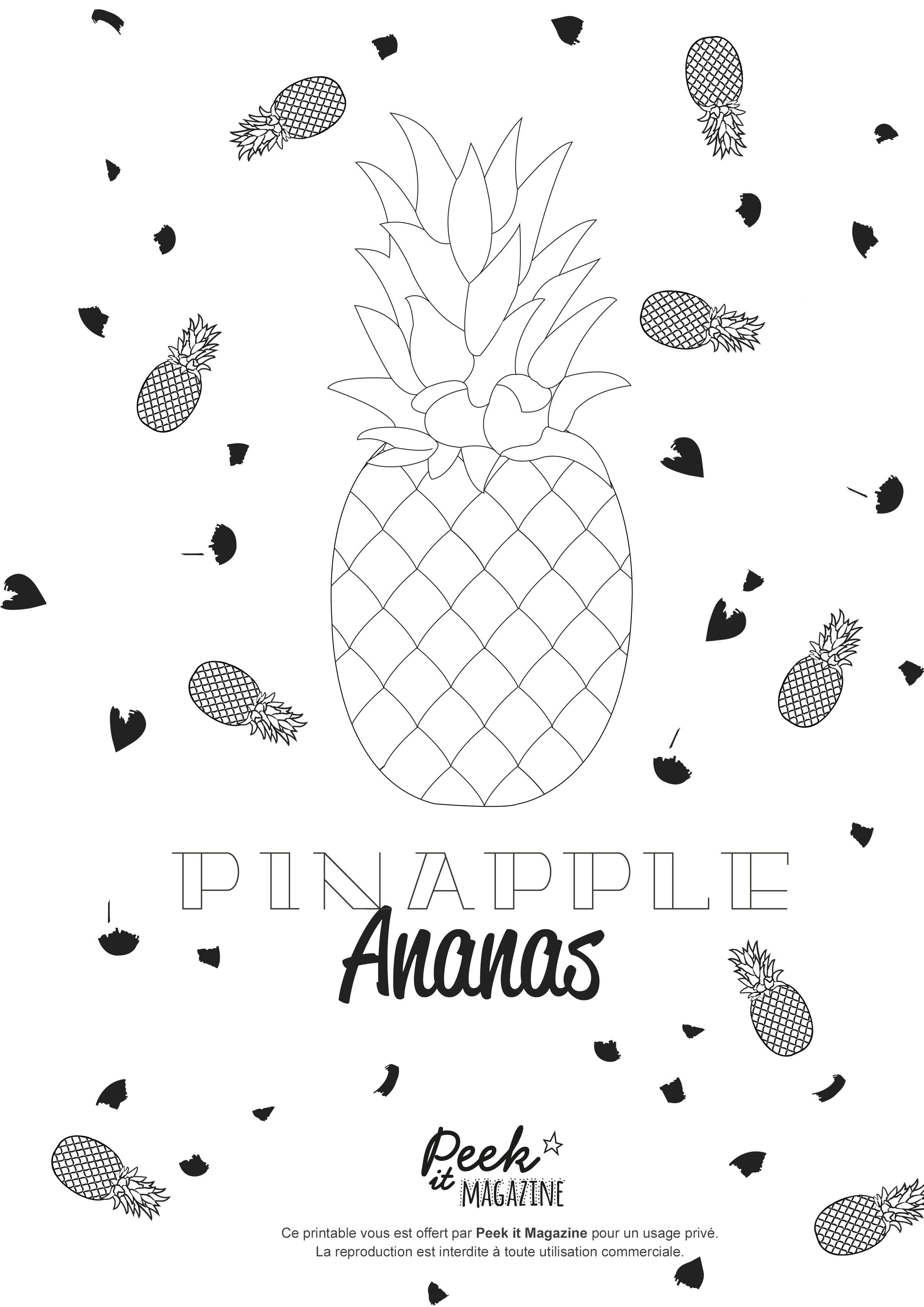 Ananas Dessin A Imprimer Coloriage Ananas Coloriage