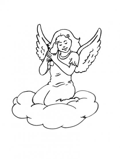 coloriage à dessiner ange noel