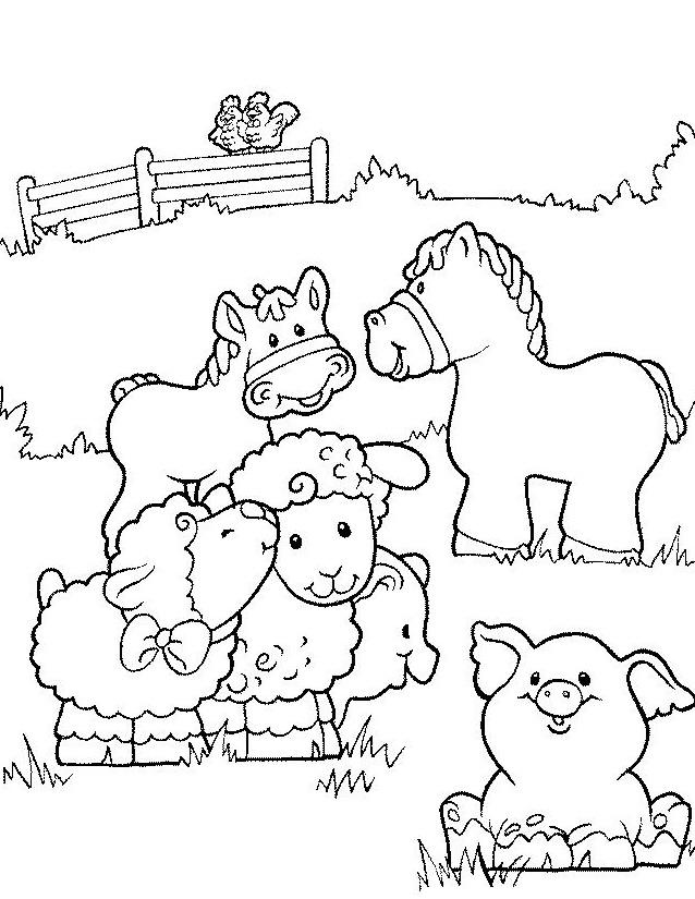 dessin à colorier codé animaux de la ferme