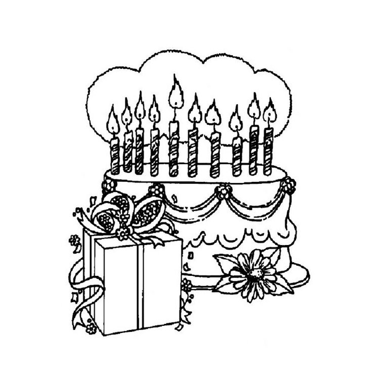 dessin ã colorier gateau anniversaire 10 ans