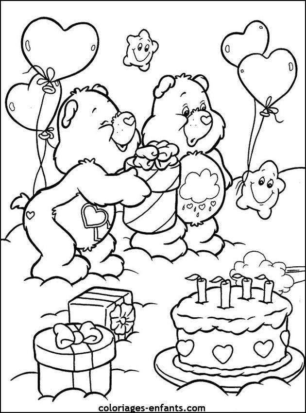 dessin � colorier gateau anniversaire 10 ans