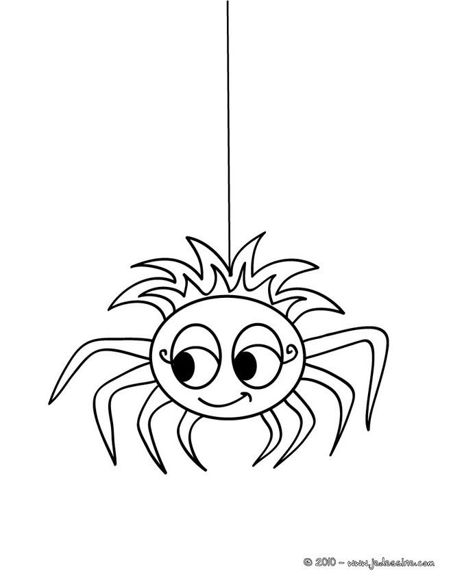 coloriage à dessiner d'une vilaine araignée halloween