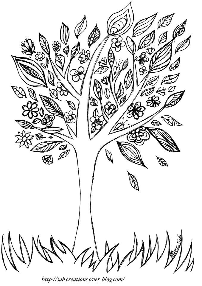 Arbre automne coloriage - Arbre en automne dessin ...