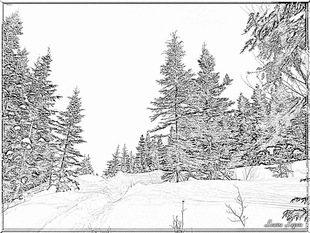 97 dessins de coloriage arbre hiver imprimer - Paysage de noel dessin ...