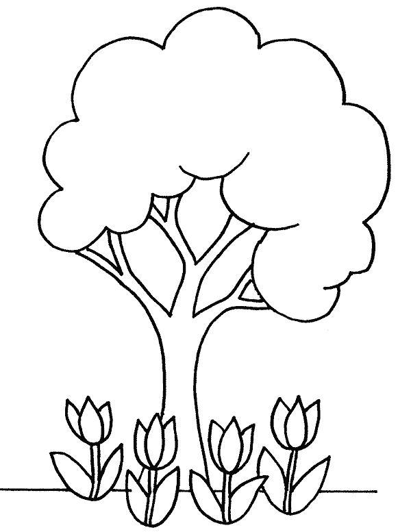 coloriage d'un arbre au printemps