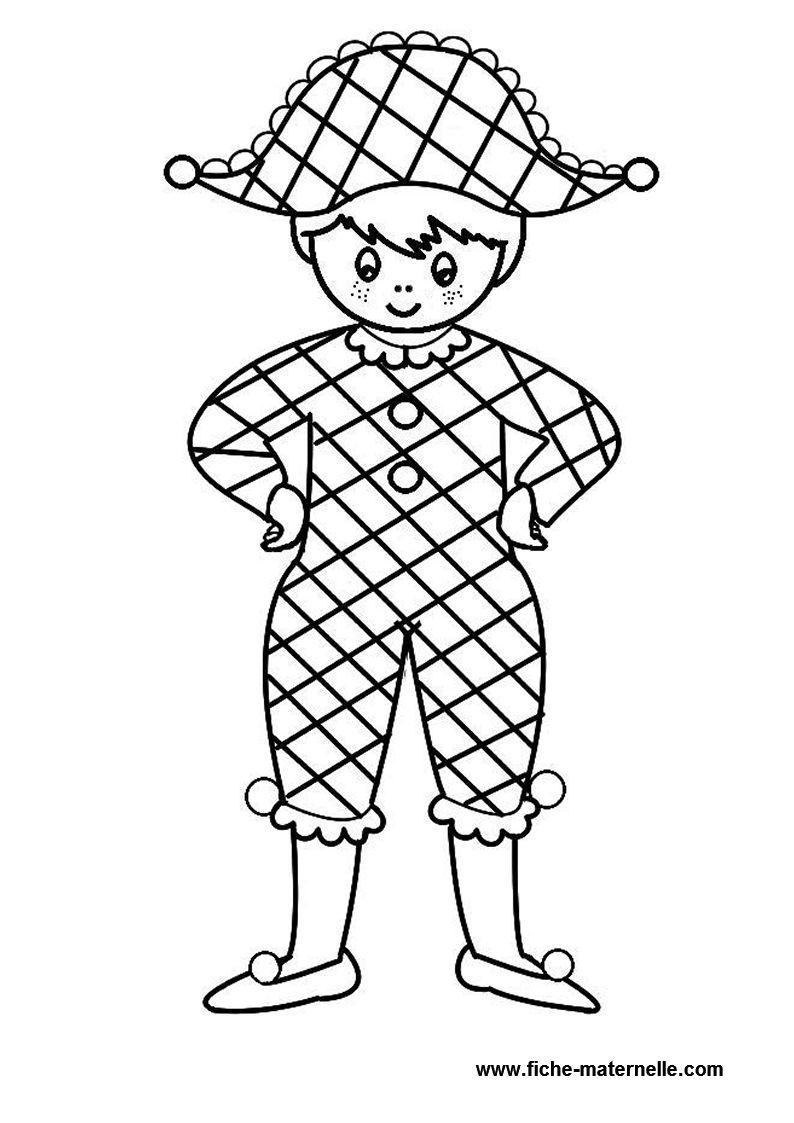 dessin à colorier pantin arlequin