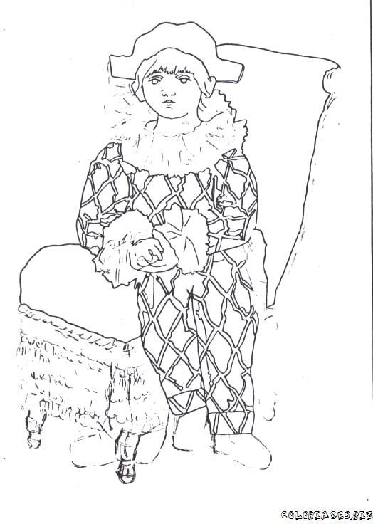 dessin à colorier arlequin polichinelle
