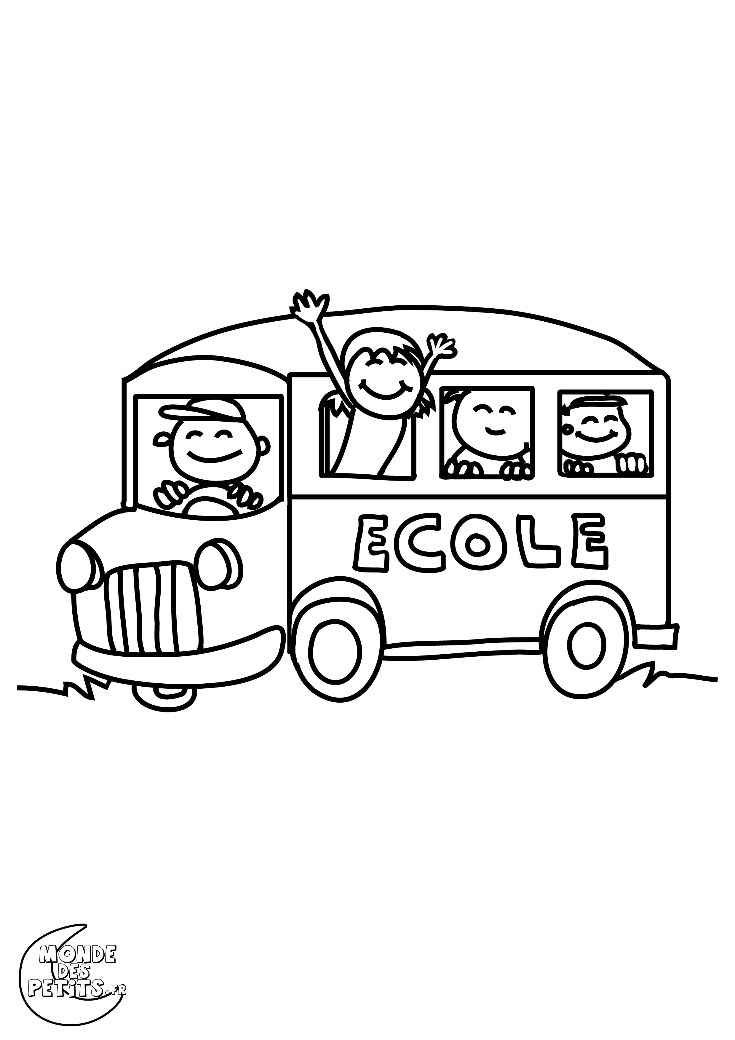 dessin à colorier bus gratuit