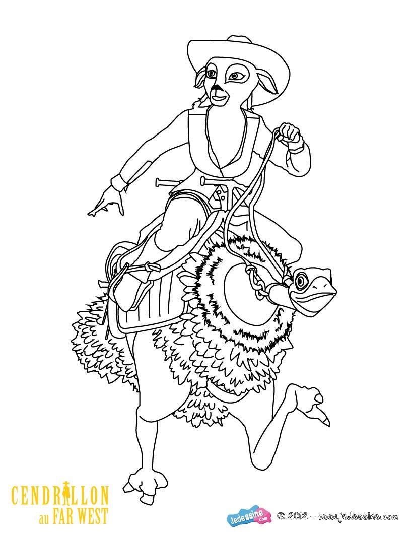 dessin à colorier en ligne autruche