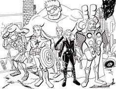 coloriage à dessiner avengers rassemblement