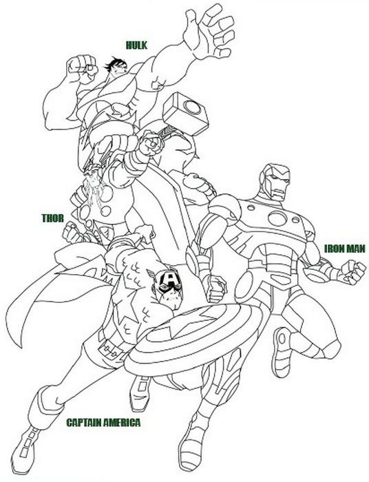 dessin à colorier les avengers
