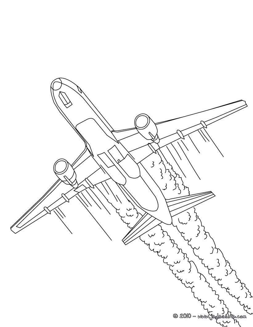 Coloriage Avion De Ligne A Imprimer.Coloriage Avion Rigolo