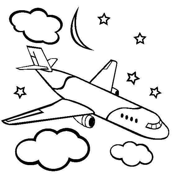 coloriage avion de ligne a imprimer