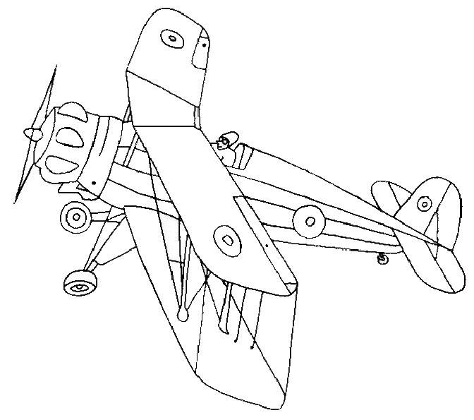 coloriage à dessiner à imprimer avion de guerre