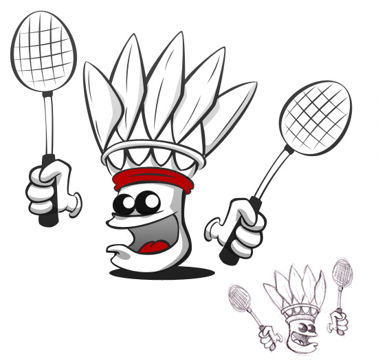 dessin à colorier de raquette de badminton