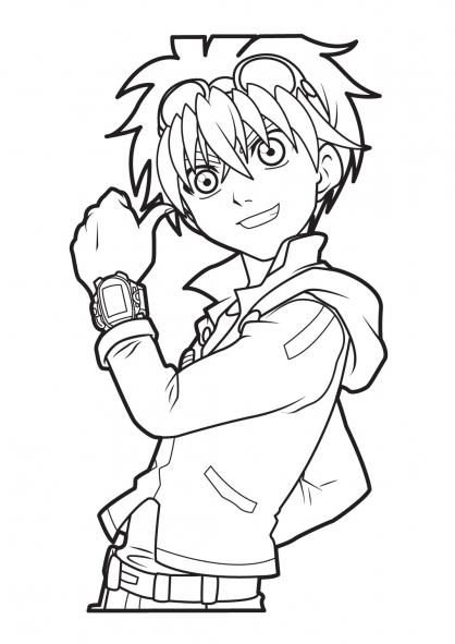 dessin à colorier bakugan dan