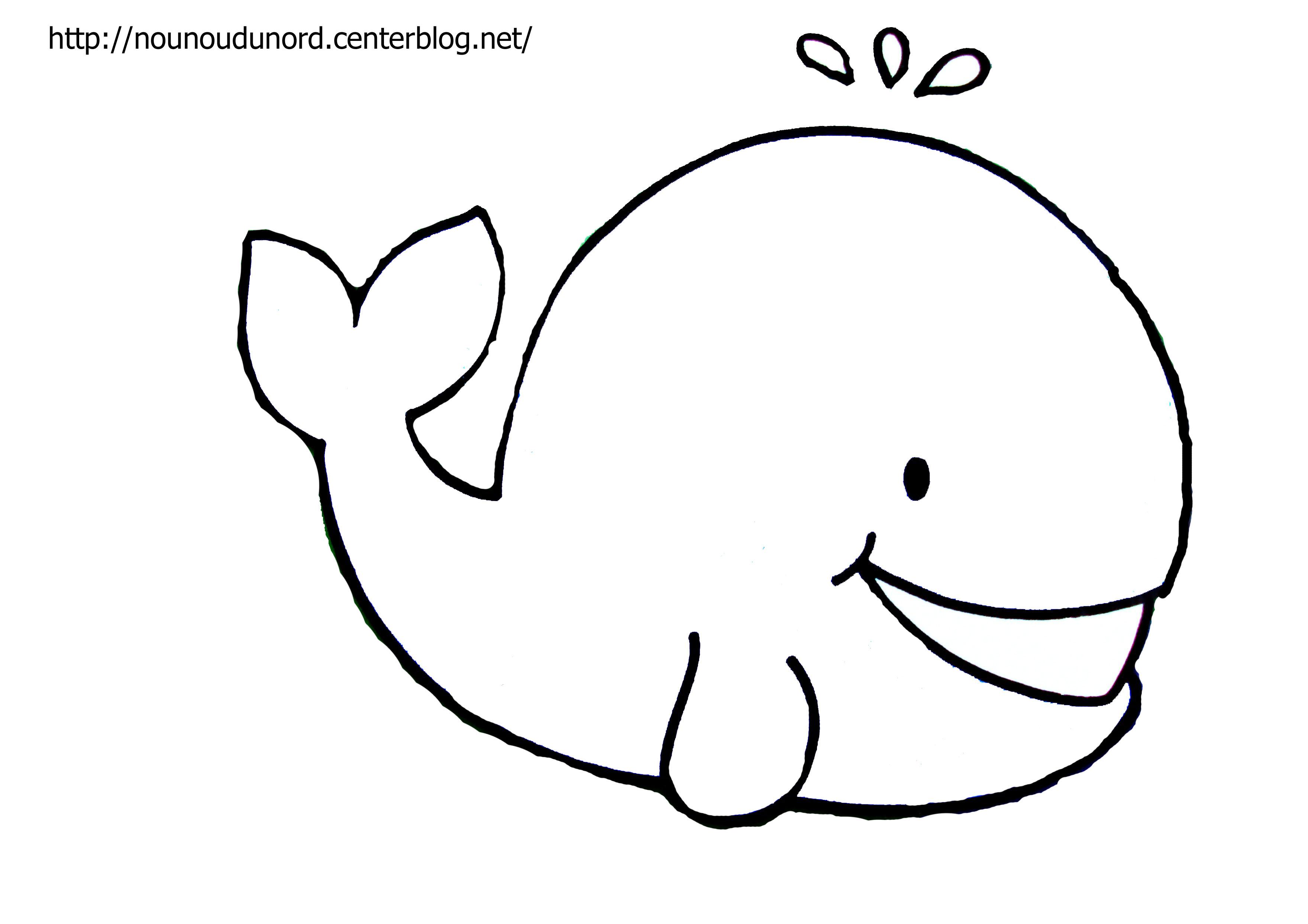 coloriage à dessiner baleine petite section