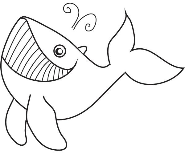 dessin à colorier baleine et dauphin