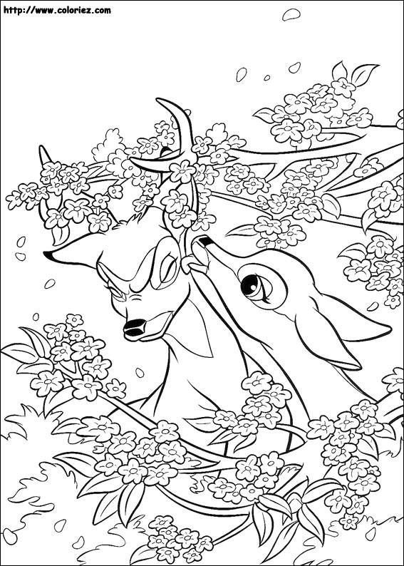 dessin à colorier bambi