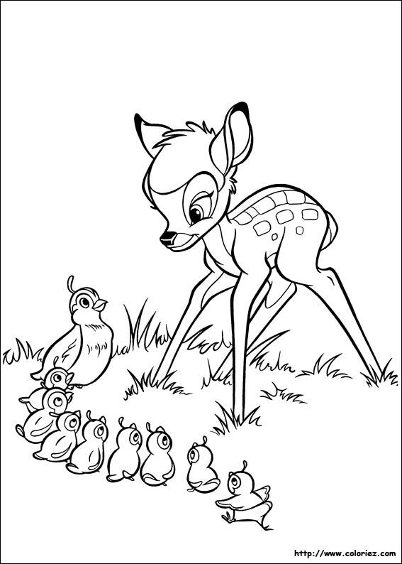coloriage à dessiner bambi et sa maman