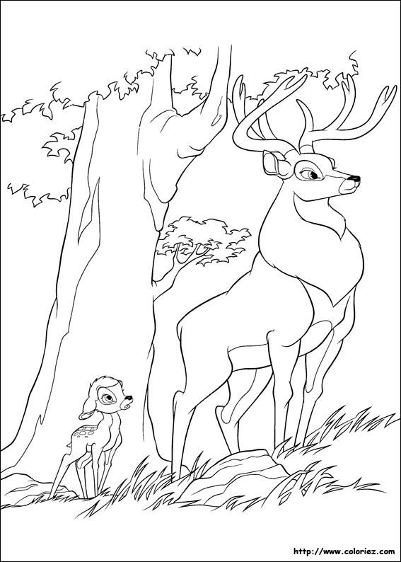 coloriage à dessiner de bambi en ligne