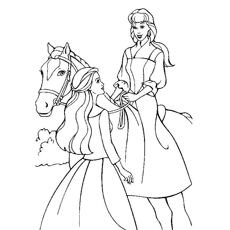 20 dessins de coloriage barbie cheval imprimer - Dessin cavaliere ...