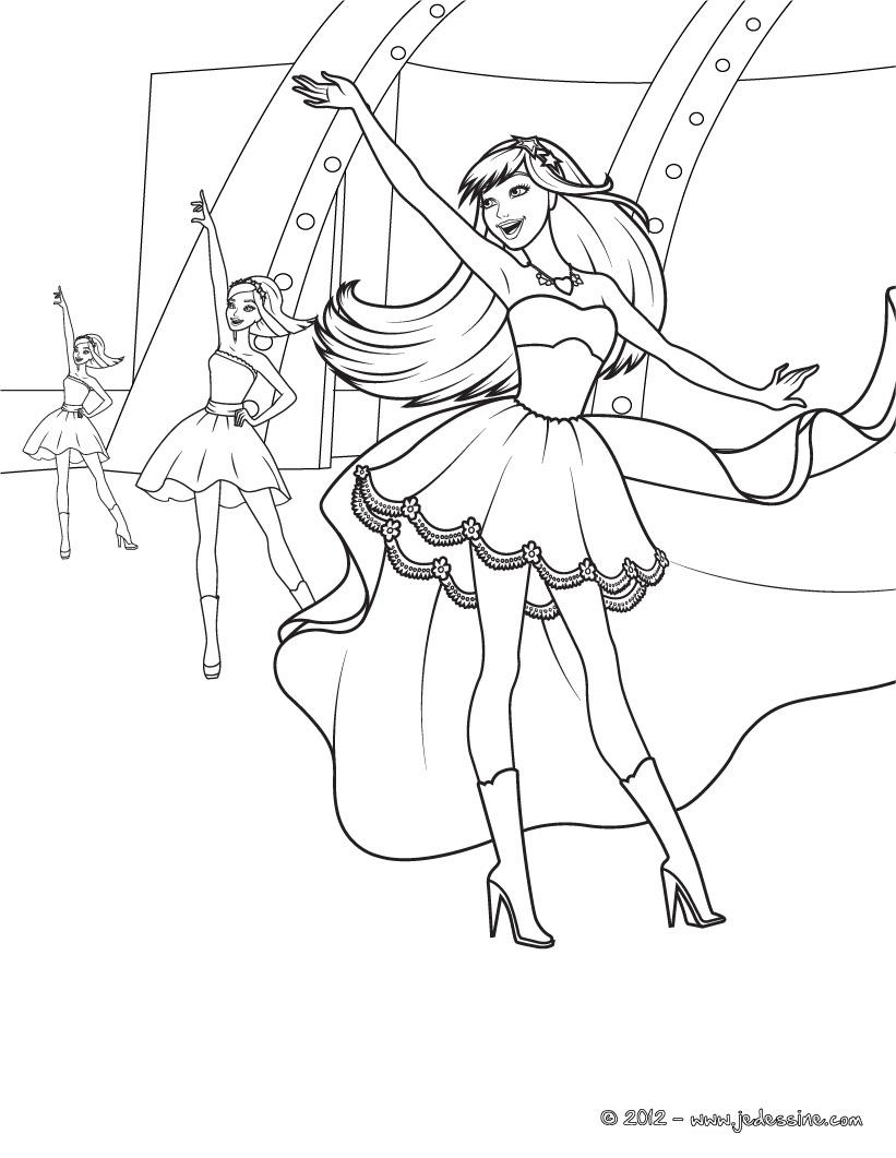 Coloriage barbie danseuse toile colorier dessin imprimer sketch coloring page - Coloriage barbie danseuse ...