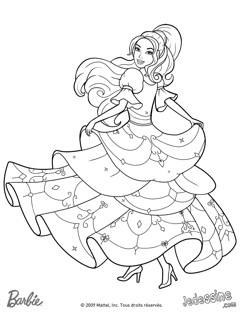 Imprimer coloriage barbie princesse - Barbie princesse coloriage ...