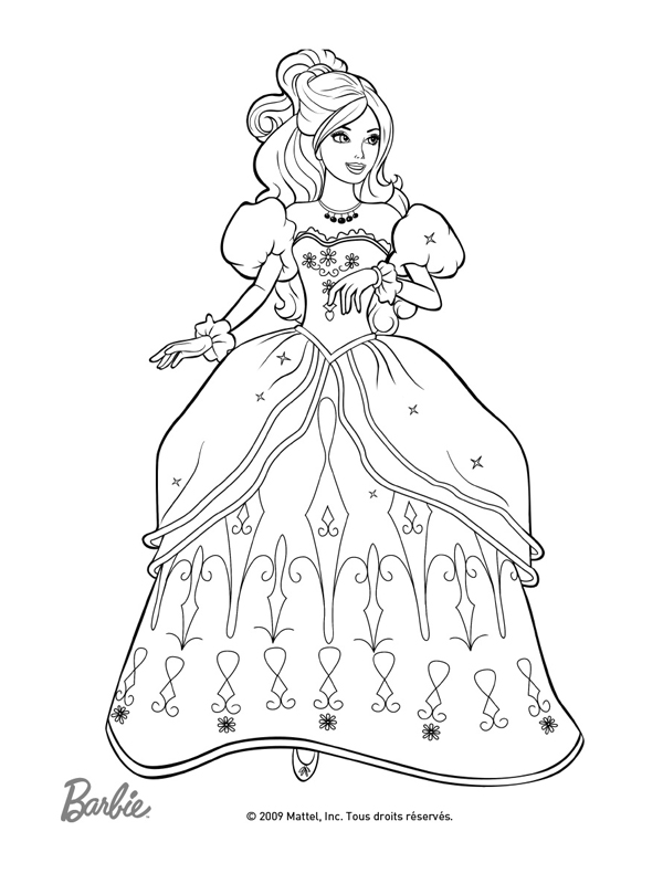 Coloriage barbie mode - Dessin de robe de princesse ...