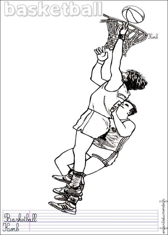 coloriage à dessiner basketteur