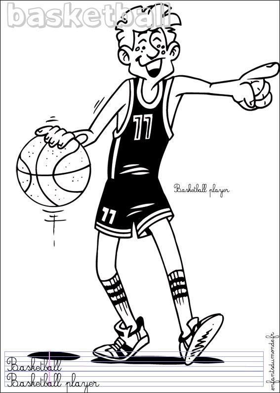 coloriage magique basket