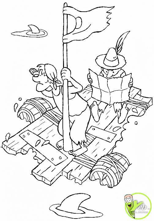 dessin à colorier bateau pirate en ligne