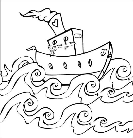 coloriage à dessiner bateau croisière imprimer