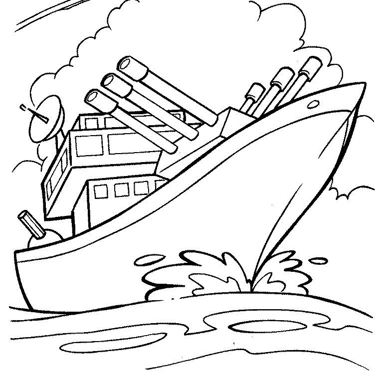 dessin à colorier bateau gratuit