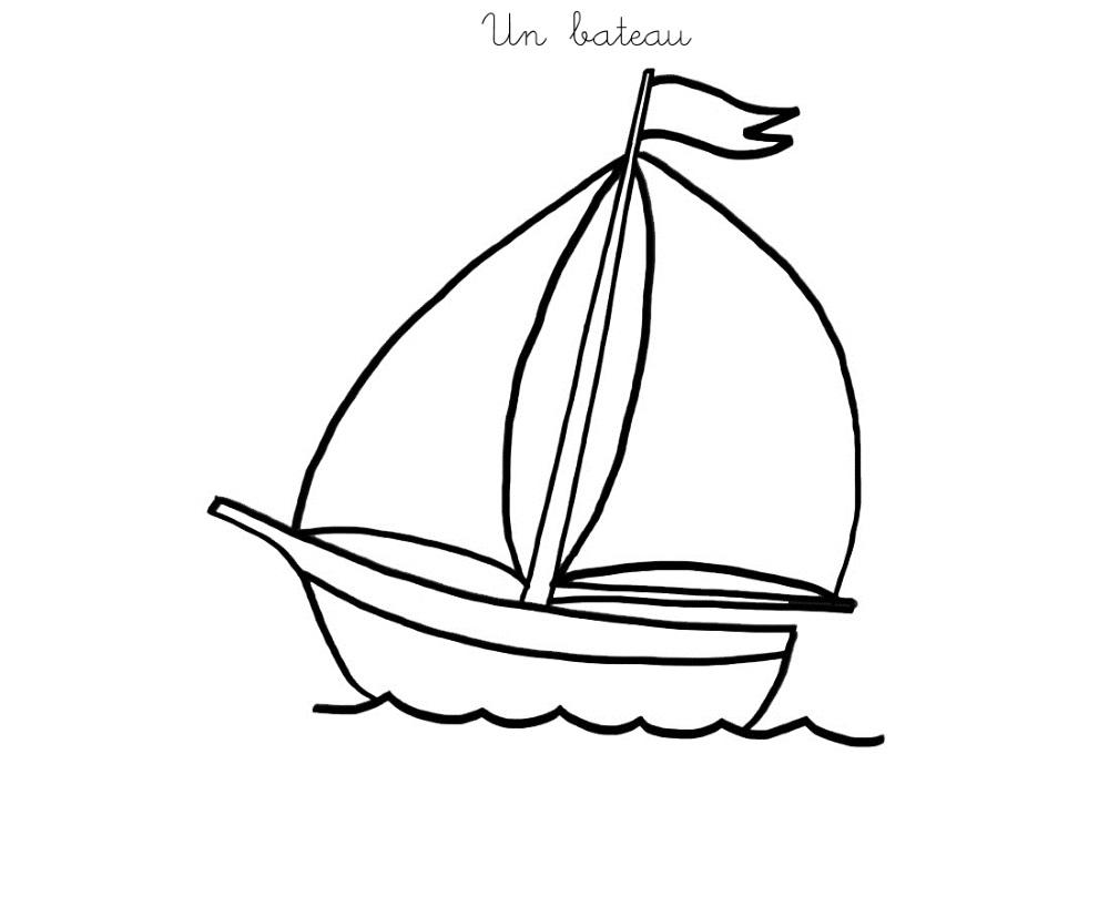 coloriage à dessiner d'un bateau sur la mer