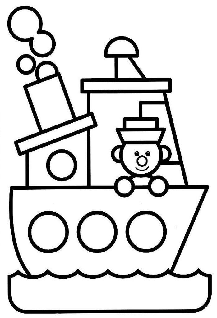 coloriage à dessiner bateau 3 ans