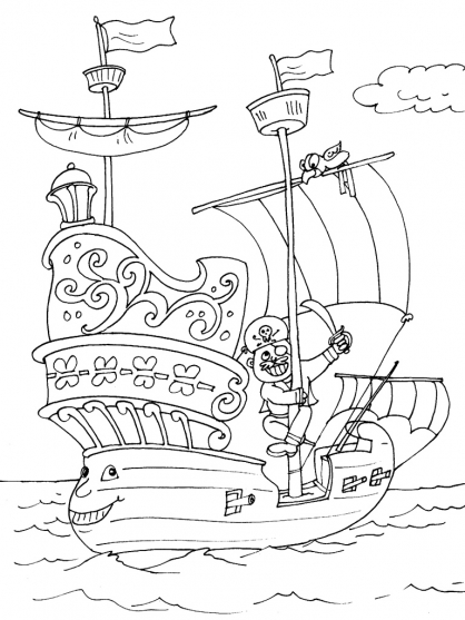 dessin à colorier bateau pirate des caraibes